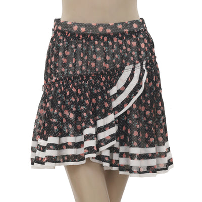 New White Chocolate Floral Printed Dotted Ruffle Mini Skirt Small S