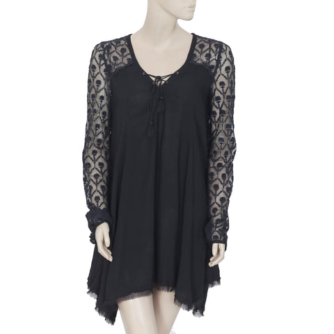 192781 New Free People Embroidered Criss Cross Casual Black Tunic Dress Small S