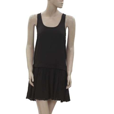 New juicy Couture Eyelet Embroidered Pleats Cotton Black Mini Dress XS