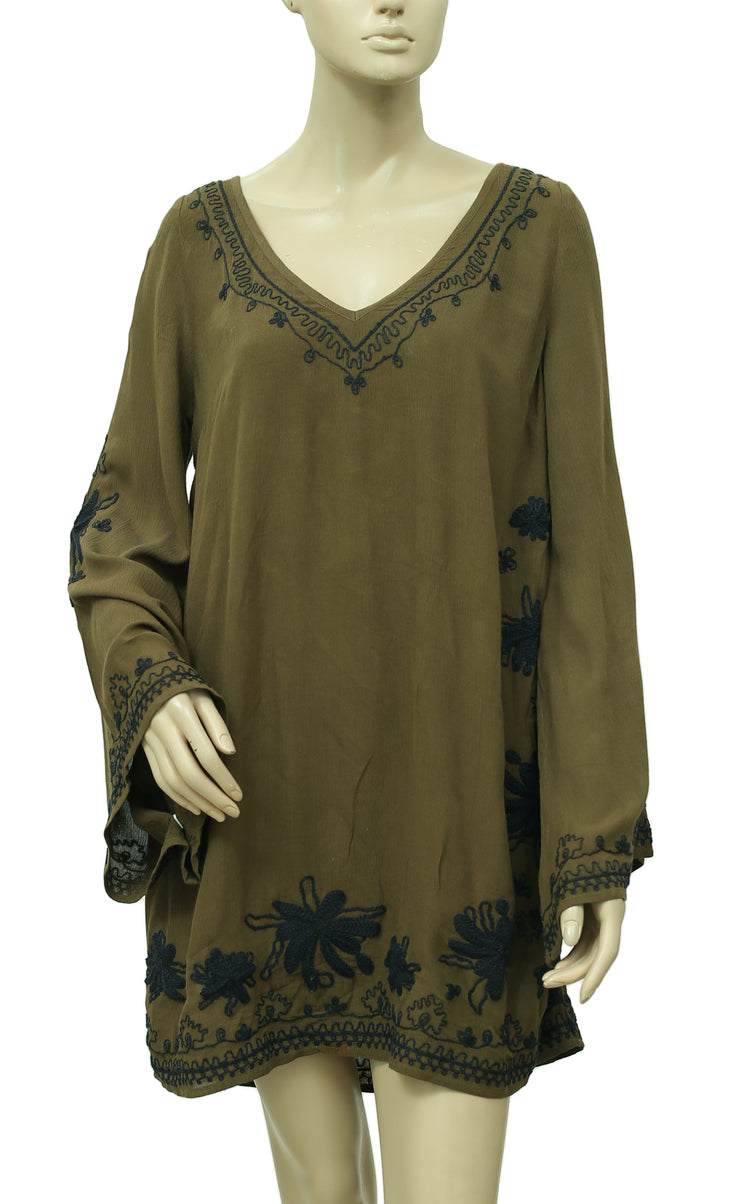 Free People Skyfall Embroidered Tunic  Dress S