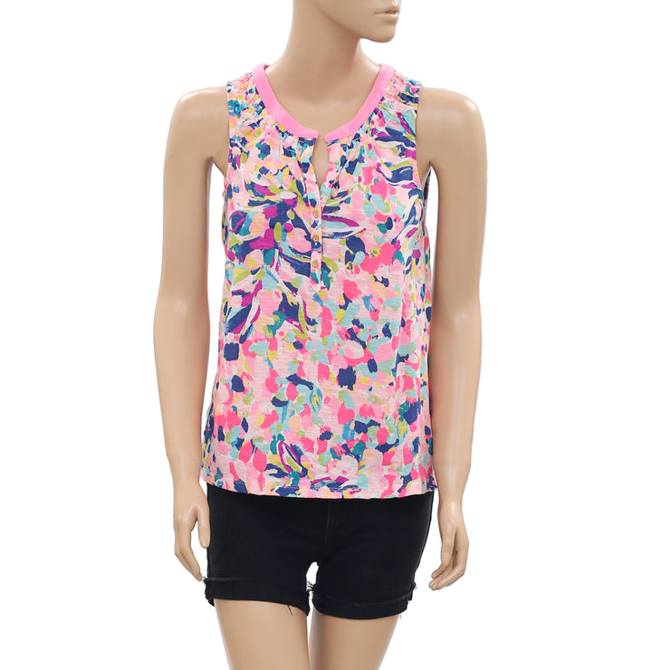 Lilly Pulitzer Essie Smocked Multicolor Cotton Tank Blouse Top XS New
