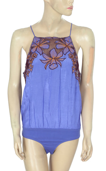 Free People Love This Embroidered Purple Bodysuit S
