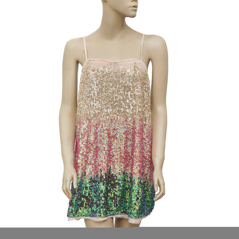 Free People Sequin Embellished Party Mini Dress XS
