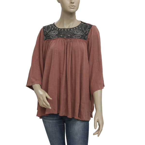 Free People Embellished Round Neck Bell Sleeve  Top M