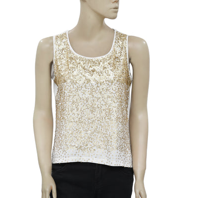 Chico's Golden Embellished Sleeveless Top S 1