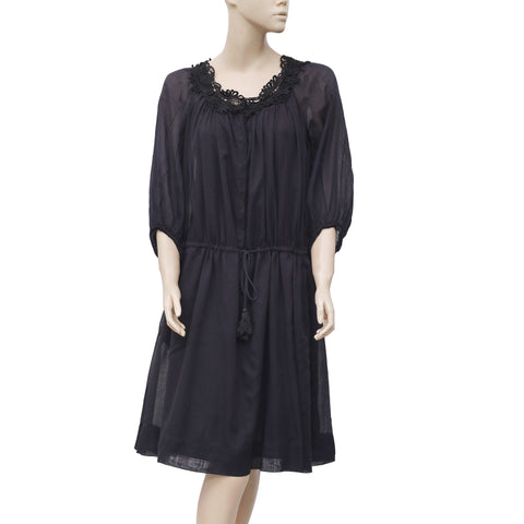 Etoile Isabel Marant Crochet Draw String Black Midi Dress M