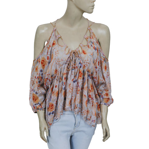 New Free People FP One Monarch Printed Cold Shoulder Blouse Top Small S