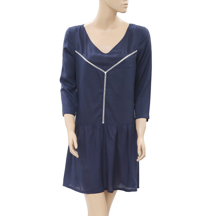New Anthropologie Lace Pocket Navy Dress M