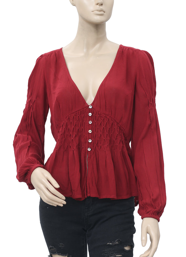 Free People Ruched Buttondown Top S