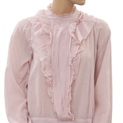 Zara Woman Ruffle Long Sleeve Pink Blouse Top S