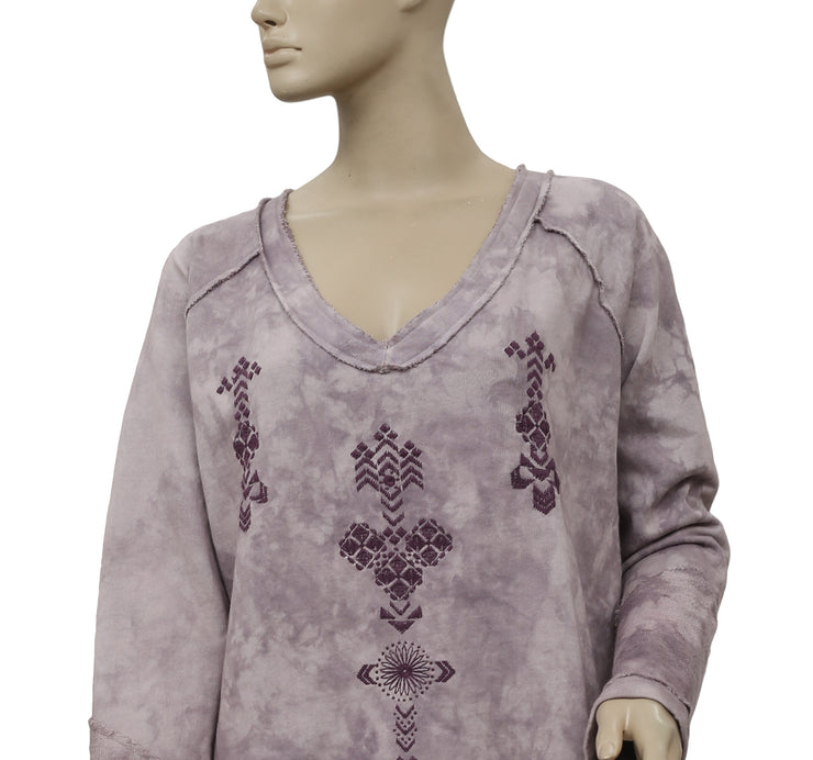 Free People Embroidered Tie & Dye Pullover Top L
