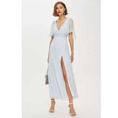 Topshop Metallic Striped Plunge Maxi Dress XS