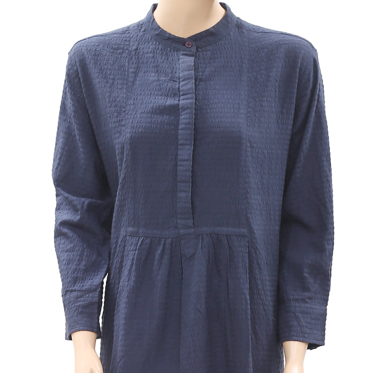 Nué Notes Striped Pattern Buttoned Navy Dress M 38