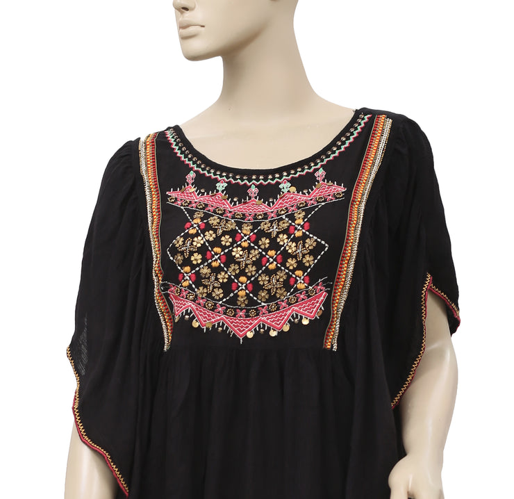 Urban Outfitters Ecote Embroidered Festival Black Blouse Top M L