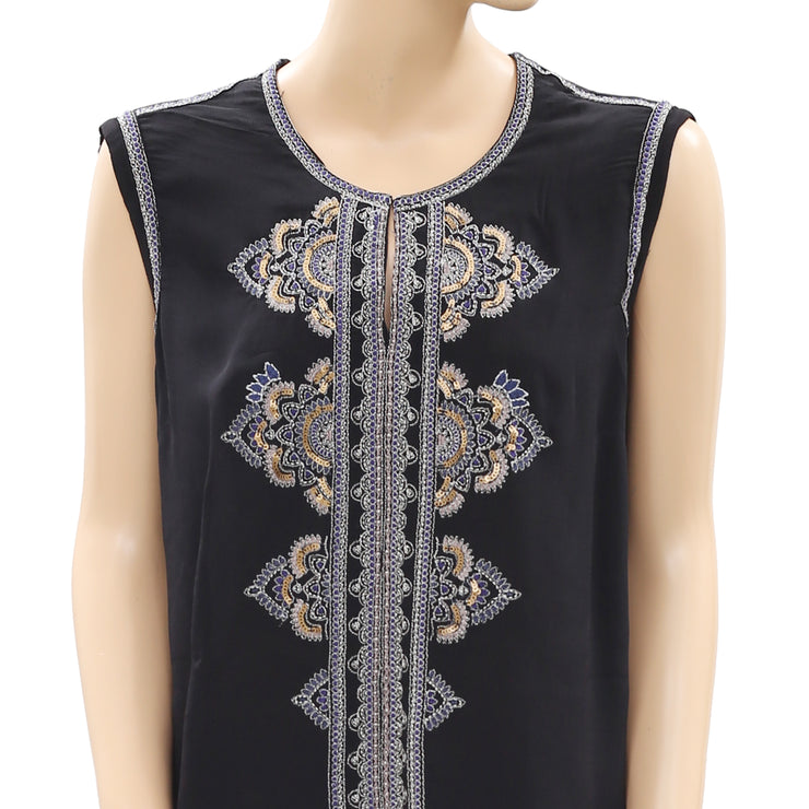 Monsoon Sleeveless Shimmer Embroidered  Top Large L 12
