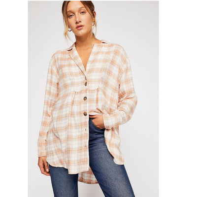 Free People All About The Feels Plaid Girlish Tunic Shirt Top Boho S