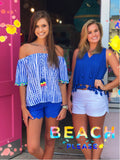 "Lilly Pulitzer ""ROXI"" Blue Crush Blouse Tank Top Tassel Beach Boho S"