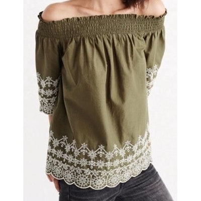 Abercrombie & Fitch Embroidered Off The Shoulder Blouse Top S