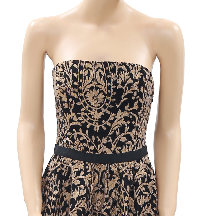 Joie Borough Metallic Embroidered Gauze Mini Dress Black Tube S 4