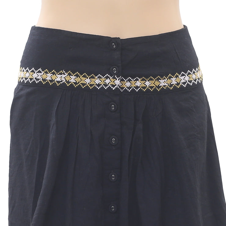 Free People Embroidered Mini Skirt Buttondown High Waisted Black Boho XS