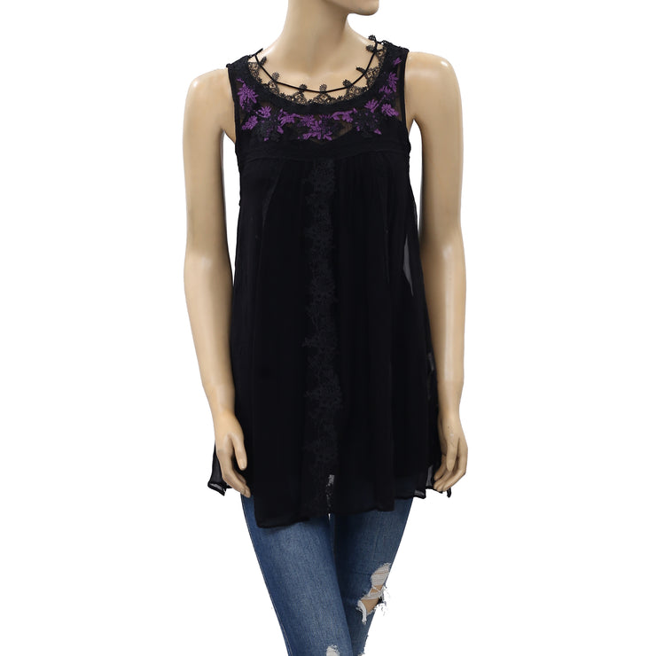 Free People Embroidered Lace Tunic Blouse Top XS New