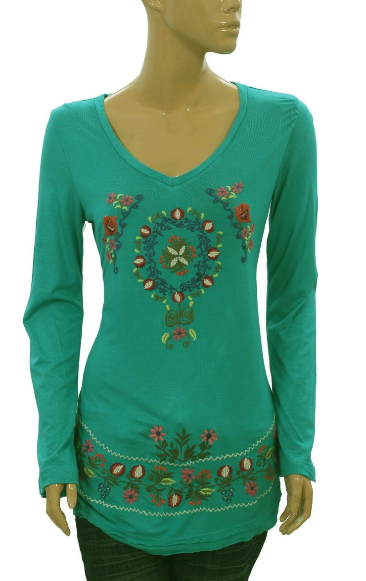 Caite Floral Anthropologie Embroidered Long Sleeve Blue Tunic Top S