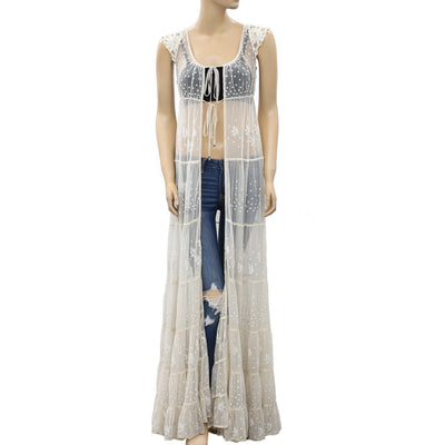 Free People Floral Embroidered Maxi Coverup Top XS