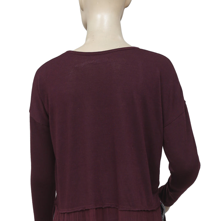 Kimchi Blue Sundown Long Sleeve Wine Embroidered Top M