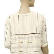 Free People Shimmer Stripe Printed Crochet Beige Tunic Top S