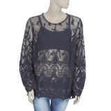 New Collection Beads Embellisged Embroidered Casual Sheer Blouse Top L