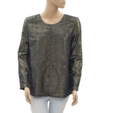 New Des Petits Hauts Shimmer Printed Buttondown Navy Blouse Shirt Top S