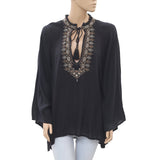 Denim & Supply Ralph Lauren Embroidered Boho Black Blouse Top Large L