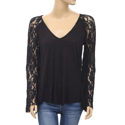 Ecote Urban Outfitters Sheer Fringes Embroidered Black Blouse Top XS