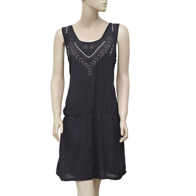 Juicy Couture Shimmer Embroidered Sleeveless Black Mini Dress M