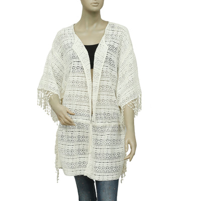 Zara Trafaluc Crochet Fringes Ivory Carigan Coverup Top M