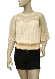 Free People Embroidered Embellished Lace Blouse Top S