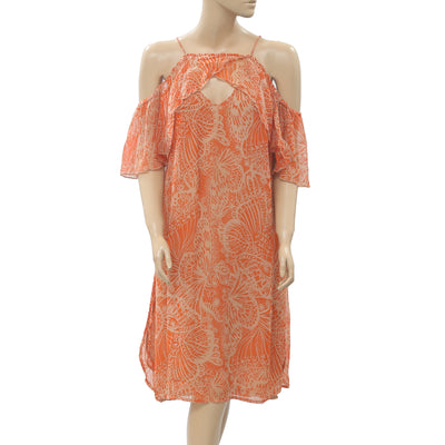 Free People Wild & Free Printed Cold Shoulder Orange Tunic Dress XS
