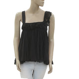 New Free People FP ONE Eyelet Embroidery Wrapped Tank Bloused Black Top M