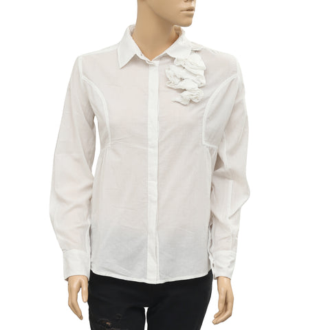 Anthropologie Ruffle Buttondown White Blouse Shirt Top Small S