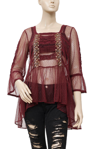 Free People Mesh Dot Embroidered Lace Top S