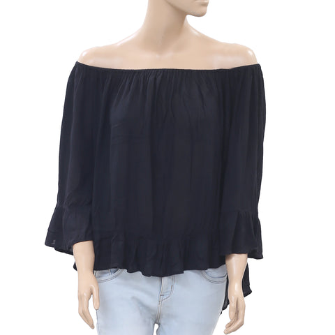 Denim & Supply Ralph Lauren Black Blouse Top Oversized Off Shoulder M