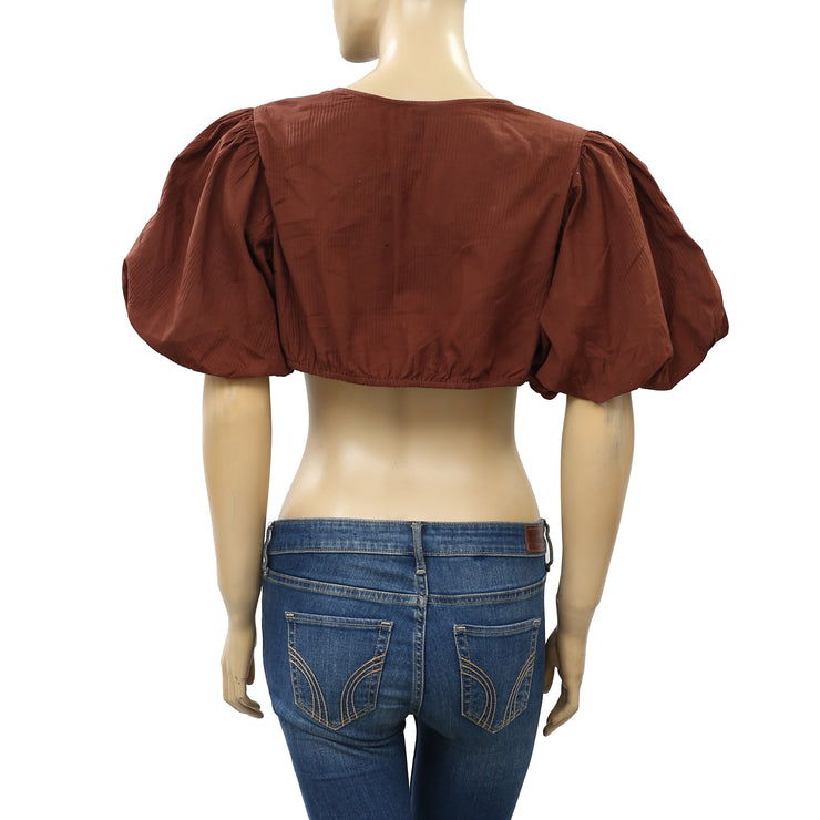 Free People Itty Bitty Tie Front Crop Top