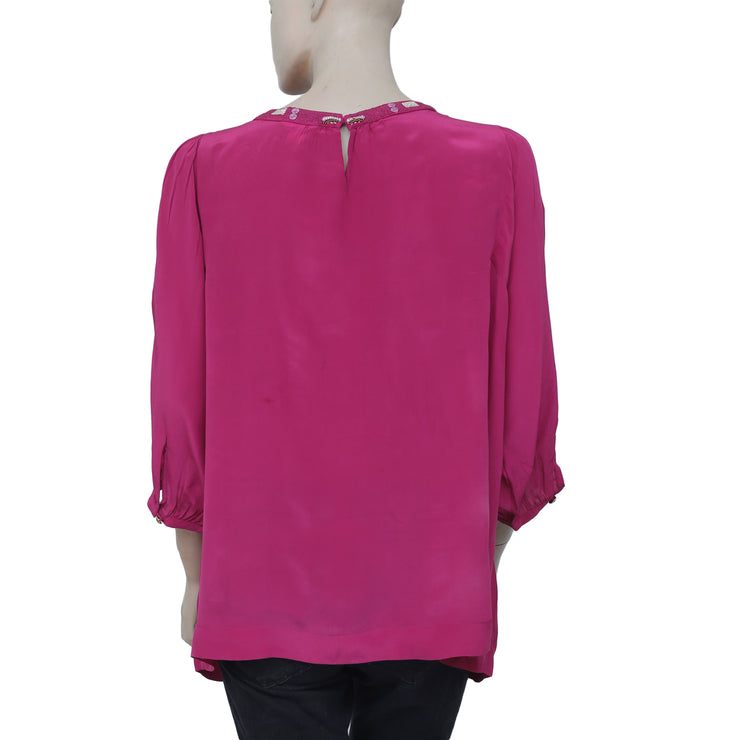 Monsoon Shimmer Embroidered Pink Tunic Top L-14