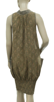 White Chocolate Floral Printed Smocked Olive Green Cotton Dress S