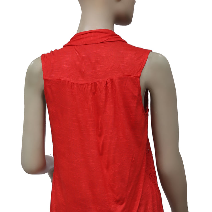 Lucky Brand Eyelet Embroidered Buttondown Sleeveless Red Tunic Top S