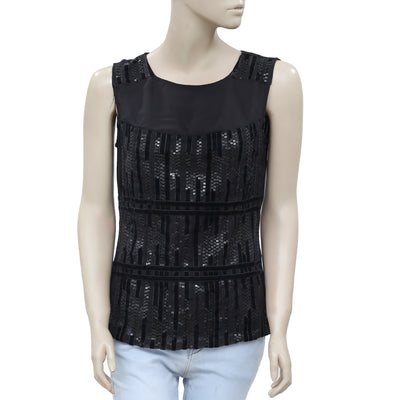 Anthropologie Sequin Embellished Sleeveless Velvet Black Top Small S