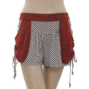 New Free People Printed Smocked Draw String Pocket Cropped Shorts Small S