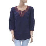 Lucky Brand Embroidered Blouse Top Summer Holiday Boho Navy S