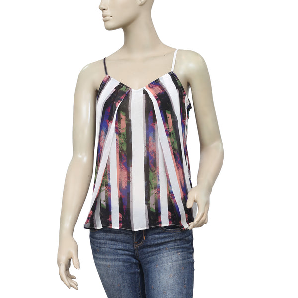 Silence + Noise Striped Printed Crop Blouse Top M