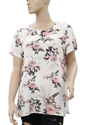 Vero Moda Floral Print Short Sleeve White Top L